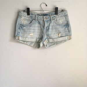 H&M Love Me Love You Light Distressed Jean Shorts